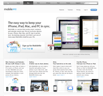 Apple's MobileMe landing page