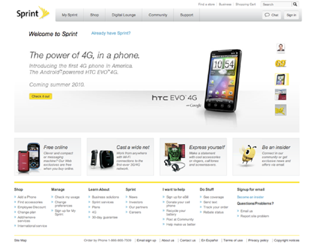 Sprint's homepage