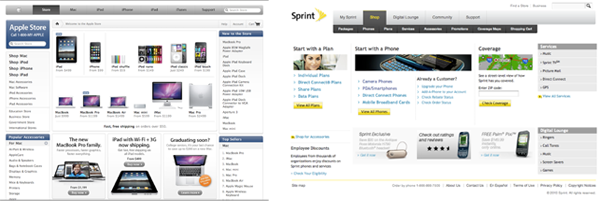 Apple & Sprint's Store landing pages