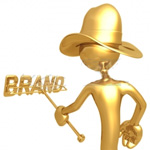 Cowboy character with branding iron
