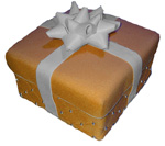 gift box in orange wrapping