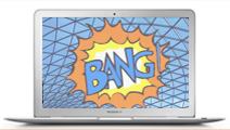 computer screen with web in background and BANG in foreground
