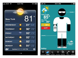 look of Apple's Weather app vs. Swackett wether app