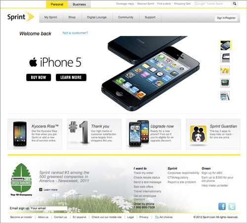 Sprint's new home page