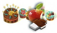 colloge of Google bakery logo, Apples real apple logo and Android ice cream sandwich logo